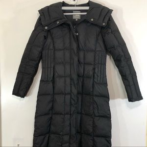 Spiewak Black Hooded Quilted Long Parka Coat Small